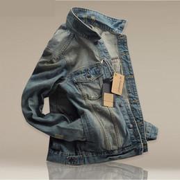 Wholesale vintage denim jackets for men - man casual jacket man outerwear slim Vintage Wholesale manufacturers One for sale Chaqueta Fold Long sleeve Slim Denim fabric Lapel Young