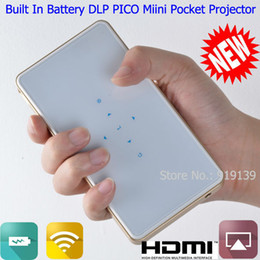Wholesale Iphone Video Quality - Wholesale- DLP Mini PICO Projector Wifi Display Compatible For iPhone iPad Samsung Android Phone Good Quality HDMI MHL Pocket Video Beamer