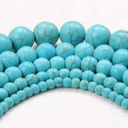 Wholesale Necklaces Material - Natural Howlite Synthetic Turquoises Stone Beads Wholesale 4 6 8 10 12mm Stone Loose Beads For Bracelet Necklace DIY Jewelry Craft Material