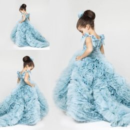 Wholesale Ice Blue Pageant Ball Gowns - Ice Blue Princess Flower Girl Pageant Gowns Tiers Organza Cute Runway Fashion Gowns Court Train Lovely Child Cupcake Dresses