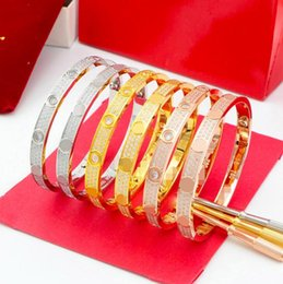 Wholesale Love Bracelet Diamonds - High quality full with CZ diamond Brand Love Screw H Bracelet Women cuff cater love bracelets Pulseira Feminina Masculin with original box