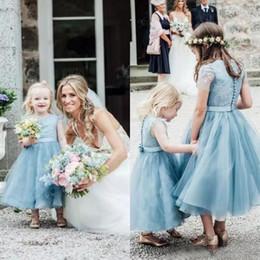 Wholesale Tea Length Holy Communion Dresses - Dust Blue Tulle Flower Girl Dresses 2017 Tea Length Short Sleeves Wedding Guest Gowns Holy Communion Dresses