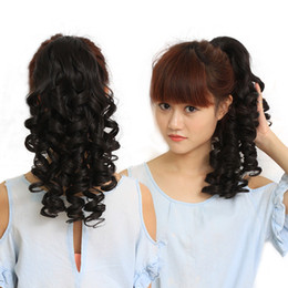 Wholesale Wavy Ponytail Hair Extensions - Natural looped string Clip Ponytail Fake Hair Extensions False Hair Jaw Pony Tails Clip in on Hair Extension Wavy Curly Style