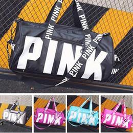 Wholesale Beach Boys Fashion - Pink Women Handbags Letter Large Capacity Travel Duffle Striped Waterproof Beach Bag Shoulder Bag