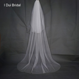 Wholesale Pink Hair Photos - Soft Solid Tulle Two Layer Simple Bridal Veil 2 Meter with Comb 2017 New Real Photo Wedding Event Bride Hair Accessory