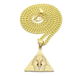 Wholesale Egyptian Top - TOP quality hot sale Men' Punk Egyptian Pharaoh Pendant Stainless Steel Gold Color Pyramid Charm Necklace Pendants Fashion Hip hop Jewelry