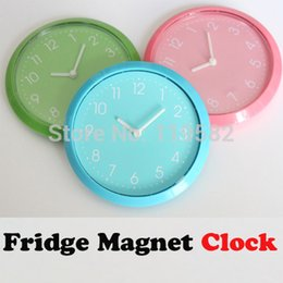 Wholesale Color Plastic Wall Clocks - Wholesale- Simple Fridge Magnet Clocks,Cheap Kitchen Wall Clocks, Three Color For Options Round Clocks Fridge Sticker Free Shipping