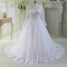 Wholesale Dresses Fat Brides - 2017 Plus Size Wedding Dresses With Long Sleeves Tulle Appliques Lace A-line Sheer Bridal Gowns Custom Made Big Size Dress For Fat Brides