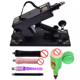 Wholesale Dildo Machines - 2017 Luxury Automatic Sex Machine Gun Set for Men and Women Retractable with Dildo and Male Masturbation Cup Sex Toys
