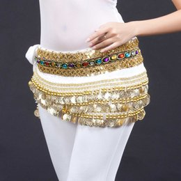 Wholesale Velvet Belly Dance Coin Belt - Belly Dance Costume Hip Scarf Belt Chain Velvet & 248pcs Golden Coins 9 Colors