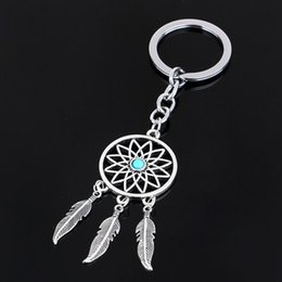 Wholesale Ring Dream Catcher - 2016 Fashion Dream Catcher Silver Tone Key Chain Silver Rings Feather Tassels Keyring Keychain For Gift
