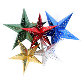 Wholesale Christmas Ceiling Decorations - For dec oration decoration laser three-dimensional five-pointed star ceiling hangings christmas paper pentastar window dressing