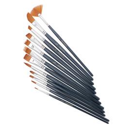 Óleo acrílico escovas on-line-12 Pçs / set Nail Art Pen garrafa de Nylon Escova de Pintura Do Cabelo Variedade Estilo Varinha Curta Óleo Acrílico Escova Aquarela Caneta Arte Suprimentos
