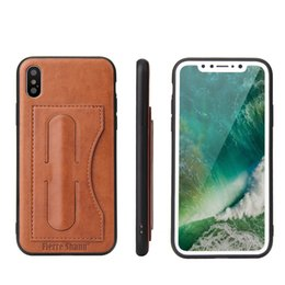 Wholesale Leather Sheath Case - Hight quality concise leather sheath business Anti-knock Card protection PU cell phone case with Kickstand for iphone X