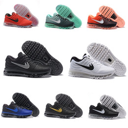 Wholesale Black Cushioned High Tops - TOP High quality 2017 Air Men Running Shoes Cushion Surface Breathable Fly line Sports shoes Retro Sneakers size 7-10 Free shipping