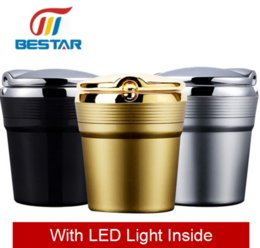 Wholesale Environmental Led - Metal Luxury Environmental Quality Ash Tray With LED Inside to Avoid the Fire and Release Your Hands For Car or Home Using