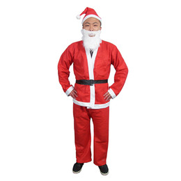 Wholesale Christmas Costume Kids - Santa Claus Adult Costume 5 Piece Santa Suit Set Christmas Santa Claus Costume Adult Free Size Fit for 165-180CM