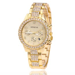 Wholesale Three Stretch - Hot style to recommend ms bracelet Hot style in GENEVA, GENEVA fashion set auger three-eyed steel band watch business quartz watch Stretch