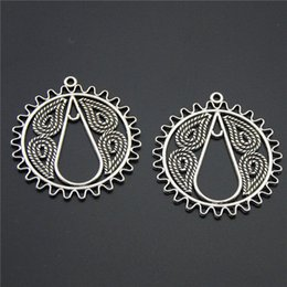 Wholesale Antique Filigree Charm Findings - 10PCS Antique Silver Charm Filigree Figure Round DIY Earring Jewelry Finding For Wholesale National Style A977