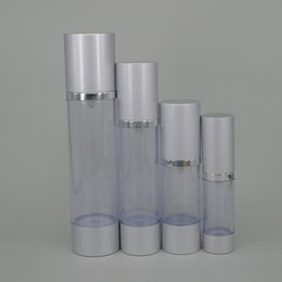 Wholesale 15ml ml ml Acrylic plastic cosmetic bottles ml silver vacuum pump bottle airless spary head hight quality liquid cosmetic bottle