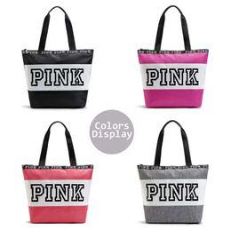 Wholesale Large Designer Handbags Wholesale - Fashion Pink Letter Designer Handbags Secret VS Shoulder Bags Women Love Large Capacity Travel Duffle Striped Waterproof Beach Shoulder Bag