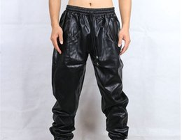 Wholesale Men Leather Sweats - Wholesale- Free shipping Cool hip hop faux leather sweatpants men Black red Sweat pants kanye Track pants plus size MP10