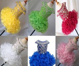 Wholesale National Cupcake Dress - Wholesale New 2017 National Girls Glitz Beaded Crystal Pageant Cupcake Dresses Infant Mini Short Skirts Toddler Tutu Girl Pageant Party Dres