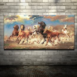 Wholesale horse wall paint modern - Modern Oil Painting (No Frame) Abstract Horses Canvas Animal Giclee Wall Art picture for Living Room Home Decoration (Size:5 sizes)
