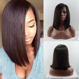 Wholesale Long Straight Hair Side Parting - Brazilian Virgin Human Hair Full Lace Bob Wigs For Black Women Glueless Left Side Part Human Hair Lace Front Wigs With Baby Hair