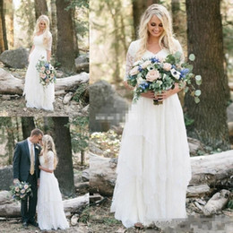 Wholesale Long Western Wedding Dresses - 2017 Western Country Bohemian Wedding Dresses Lace Chiffon Modest V Neck Half Sleeves Long Bridal Gowns Plus Size Dress for Wedding