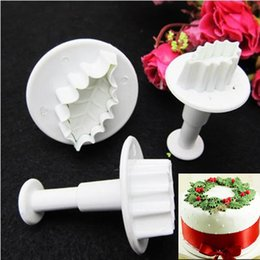 Wholesale Rose Plunger - Wholesale- 3Pcs Set New DIY Christmas Rose Leaf Cake Icing Fondant Plunger Cutter Pastry Mold Cake Decorating Tools F0552