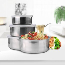 Wholesale Stainless Fruit Bowl - 5 Pcs set Stainless Steel Fresh Bowl Round Crisper with Cover Kitchen Tool Fruits Vegetables Storage With Lids