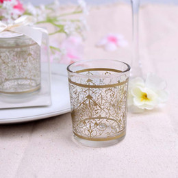 Wholesale glass pillar candle holders wholesale - Lace Pattern Candle Holders Wedding Favors Glass Tea Light Candlestick Party Favor Gift Home Decoration New