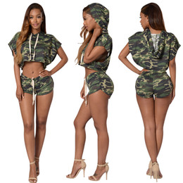 Wholesale Summer Motorcycle Pants - 2017 hot camouflage small bat shirt hot pants two sets of nightclubs summer fashion stitching camouflage women M414