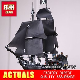 Wholesale Black Plastic Blocks - LEPIN 16006 804pcs Pirates of the Caribbean The Black Pearl Building Blocks Set 4184 Lovely Educational BoyToy For Children toy