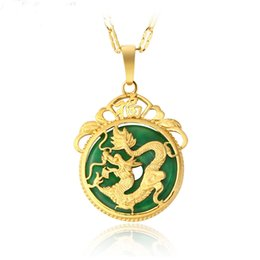 Wholesale Gold Jade Dragon - Fashion Classic Jewelry Necklace Imitation Jade Dragon Pendant Chain Necklaces 24K Gold Plated XL4051