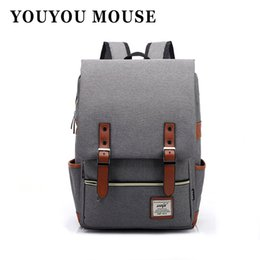 Wholesale Mouse Backpack - Wholesale- YOUYOU MOUSE Fashion Women Canvas Backpack Men Oxford Travel Backpacks Retro Casual Backpacks School Bags For Teenagers