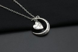 Wholesale Male Heart Necklace - Hot new fashion jewelry I love you stars moon love silver necklace male and female students couple alloy pendant with jewelry birthday gift