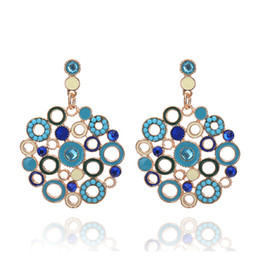 Wholesale Colorful Circle Earrings - Trendy Bohemia style Colorful Enamel Circle Dangle Earrings for Women Crystal Beads Drop Earrings Gold Fashion Accessories Party Jewelry