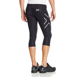 Wholesale Hot Running Pants - New Popular Mens Trousers 2017 Hot Man Fitness Pants 3 4 Length Running Training Pants man Fashion Pants Silver + Black