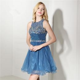 3651a73de8f 2017 Синее короткое вечернее платье вышитый бисером по руке Sequins Crystal  Prom Party Mini Dress для женщин Robe De Soiree