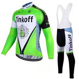 cyclisme long jersey vert Promotion Chemise cycliste à manches longues hiver 2017 à manches longues Ropa Ciclismo Invierno / Fluor Green Tinkoff Bicicleta Mountain Bike Clothes
