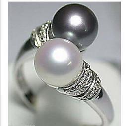 женщины подарок ювелирные изделия серебро натуральный горячий продавать! Настоящее Черное Белое Пресноводное Жемчужное Серебряное Кольцо cheap natural pearl ring real от Поставщики натуральный жемчуг кольцо реальный