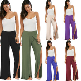 Wholesale Long Loose Pants Female - 2017 Women Wide Leg Flowy Pants with High Waist Summer Beach Long Loose Harem Pants Female Casual Trousers ZL3205
