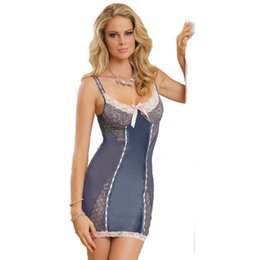 Wholesale Sex Night Dresses - Babydoll Sleepwear Sexy Transparent Dress Sex Women Underwear Nightgowns Erotic Lingerie Backless Lace Grey Sexy Night Dresses