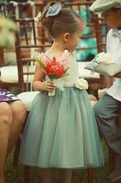 Wholesale Cheap Tutus For Kids - 2015 Vintage Flower Girls Dresses for Weddings A-Line Square Mint Tutu skirt Tea-Length Junior Bridesmaid Dress Cheap Kids Formal Gowns