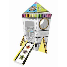 Wholesale Villa Paintings - Kids doodle 3D Puzzles Rocket Villa children's Cardboard DIY Painting puzzles kindergarten educational toys Parent-Child Interaction game