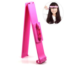 Wholesale Tool For Bangs - Wholesale- Hot Hair Bangs Clippers Trimmer,Pink Plastic Level Instrument Ruler DIY Hair Clip Accessories Cutting Tools For Women Girls Ki