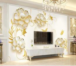 schöne tapeten für wände Rabatt Neue benutzerdefinierte 3D schöne goldene Kamelie Pearl Einfache TV Hintergrundbild für Wände 3 d für Wohnzimmer