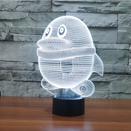 Wholesale Penguin Night Light - Free Shipping 3D Animal Penguin Night Light 7 Color Change LED Table Desk Lamp Acrylic Flat ABS Base USB Charger Home Decoration Toy Brithda